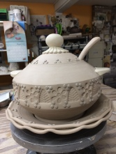 Soup Tureen with Ladle & Serving Tray (Leather Hard Stage)