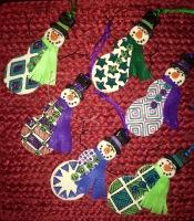 Snowmen Ornaments Wire Arms/Felt Scarves